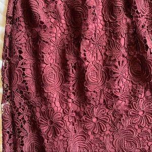 Ann Taylor Skirts - Ann Taylor Burgundy Lace Midi Skirt